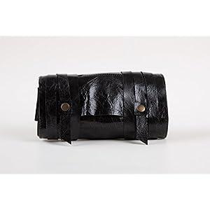 Schwarz Leder Handgefertigt Pfeifentasche Drehertasche