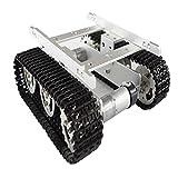 perfk 4WD T100 Smart Robot Tank Fahrgestell Mit Antriebsräder, Gleichstrommotor,LED Licht,Schraubwerkzeuge - Silber