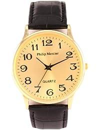 Philip Mercier SML42/A - Reloj analógico de caballero de cuarzo con correa marrón