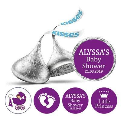 Darling Souvenir 190-Pack für kleine Prinzessin Sticker Hershey Kisses Süßigkeit Labels-Lila