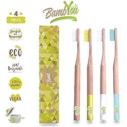Cepillo de dientes de bambú de bambú - Pack de 4 - Natural - Biodegradable - Vegan - no agresivo para las encías - suave, flexible y agradable, limpia eficazmente