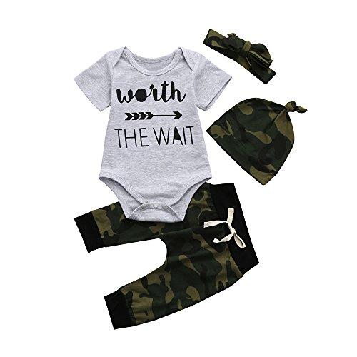 Tyoby Kleidung Baby-Junge Brief Print Kurzarm Onesies + Camouflage Hose + Hut Ostern Kostüm(Grau,90) (Jungen Ostern Kleidung)