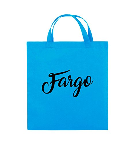 Comedy Bags - FARGO - LOGO - Jutebeutel - kurze Henkel - 38x42cm - Farbe: Schwarz / Pink Hellblau / Schwarz