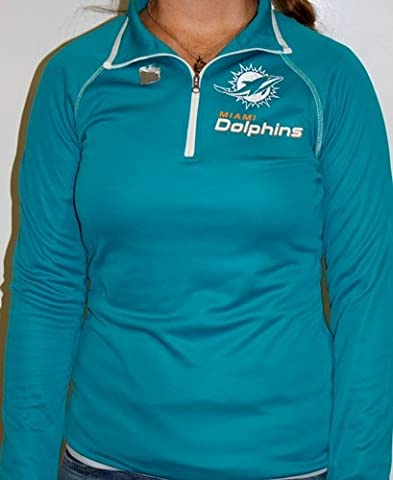 Miami Dolphins Womens Majestic NFL Breakout Play V 1/4 Zip Performance shirt chemise