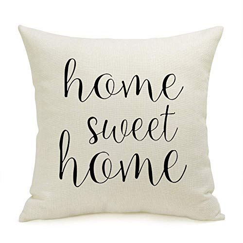 Mazheny - Set di 2 copricuscini con Scritta Home Sweet Home, 45,7 x 45,7 cm Home Sweet Home