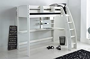 Scallywag Kids High Sleeper Bed - White - Curved Ladder - Integral Desk & Shelves. Made In The UK.