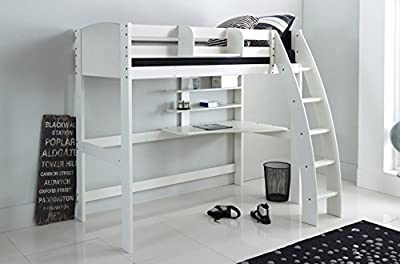 Scallywag Kids High Sleeper Bed - White - Curved Ladder - Integral Desk & Shelves. Made In The UK.