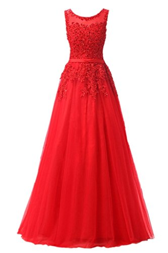 Missdressy A-Linie Lang Spitze Tüll Rückenfrei Abendkleid Ballkleid Hochzeit Brautjungfernkleid mit Traeger Rot