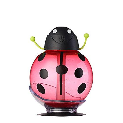 SUNLMG Kühlluftbefeuchter Luftbefeuchter Luftreiniger Tragbare 360 Grad-Drehung Kreative Cartoon Beetle Skin Nachschub Ultraschall Mini Auto Luftbefeuchter USB Lufterfrischer,Red
