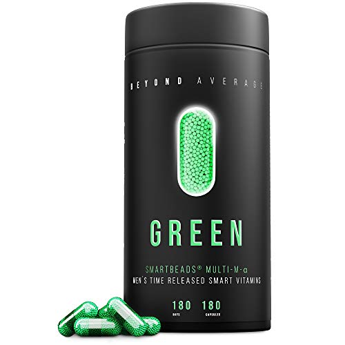 Beyond Average GREEN | Time-Released 24h* Multivitamin und Multimineral-Support Männer | 180 Smartbeads ® Multi-M-Alpha Kapseln | Laborgeprüft | Entwickelt u. Hergestellt in Deutschland
