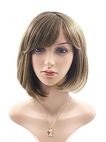 Perücke Kurz Bob Natürlich Aussehen wie Echtharr Fashion Cosplay für Frauen mit kostenlosen Perücke Kappe Braun