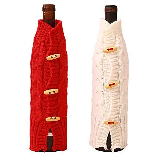 PUDDINGY® 2 Stück Christmas Sweater Weinflasche Decken, Handgemachte Hässliche Weinflasche Pullover Rotweinflasche Kleid Sets Xmas Party Kit Dekorationen