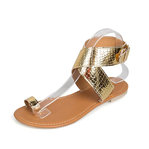 Kkangrunmy sandali marco tozzi donna, sandalo rosso donna,donna cross belt roma strappy gladiatore basso piatto flip flops spiaggia sandali fenty slippers (35, oro)