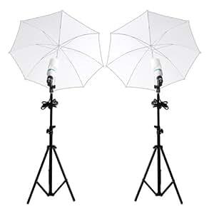 amzdeal® Fotostudio Studioleuchte Fotoschirm Durchlichtschirm Lampenstativ Studioset mit 2x135W Lampe