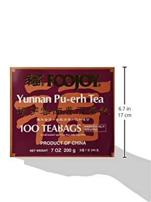 Foojoy Yunnan Bo Nay Tea, Yunnan Pu-erh Tea 100 Individually Wrapped Teabags by FooJoy