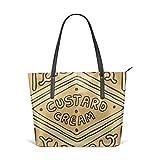 Cocoal-ltd Custard - Borsa a tracolla in pelle per biscotti britannici, misura grande, colore: Panna