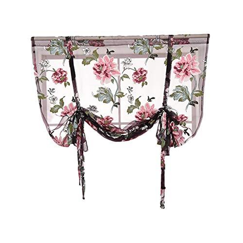 TianranRT Stange anhebbar Küche Badezimmer Fenster Römisch Vorhang Floral Gardine Voile Schabracken (Mehrfarbig,L) - Runde Rod Druck-vorhang