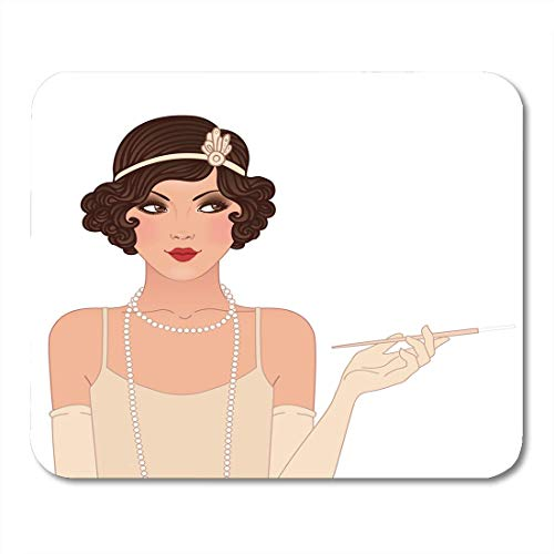 pad-Matte, Beige Roaring Flapper Girls Young Beautiful Woman of 1920S Mouse Pad, Desktop Computers mats ()