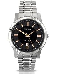 Sekonda 3354.27 - Reloj analógico de cuarzo para hombre con correa de acero inoxidable, color plateado