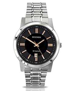 Sekonda Men's Quartz Watch with Black Dial Analogue Display and Silver Stainless Steel Bracelet 3354.27