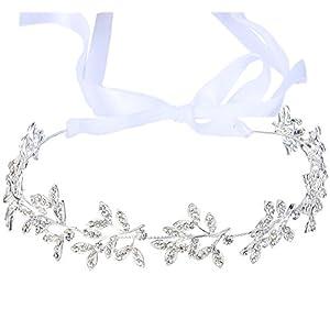 Clearine Damen Kristall Böhmisch Braut Olive Blatt Romantik Verformbar Haarband Haarschmuck