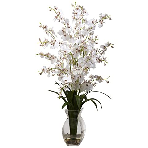 Nearly Natural 1294-WH Dancing Lady Orchid with Vase Arrangement, White