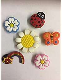 Other 6 Summer Garden Flowers, Butterfly, Rainbow & Ladybird Shoe Charms For Crocs & Jibbitz Wristbands