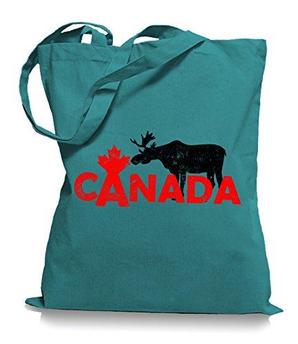 Ma2ca® Canada Alce Alce Borsa Di Stoffa Borsa Di Iuta Borsa Per Il Trasporto Borsa / Borsa Wm101 Smeraldo