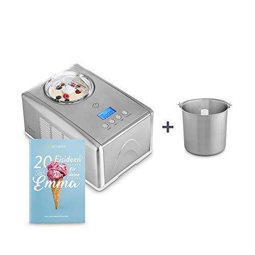 Eismaschine Emma 1,5 L mit selbstkühlendem Kompressor 150 Watt, aus Edelstahl mit entnehmbarem Eisbehälter, inkl. Rezeptheft