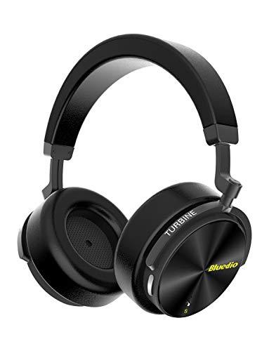 Bluedio T5S Cuffie Bluetooth Over Ear con Microfono, Cuffie con Cancellazione del Rumore Attivo 57mm Driver Cuffie Wireless per Lavoro da viaggio TV PC Cellphone, 25 Ore di Riproduzione,Nero