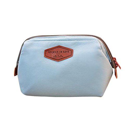 QHGstore Multi-Uso cosmético del maquillaje de la caja del organizador del recorrido bolsa del bolso azul claro