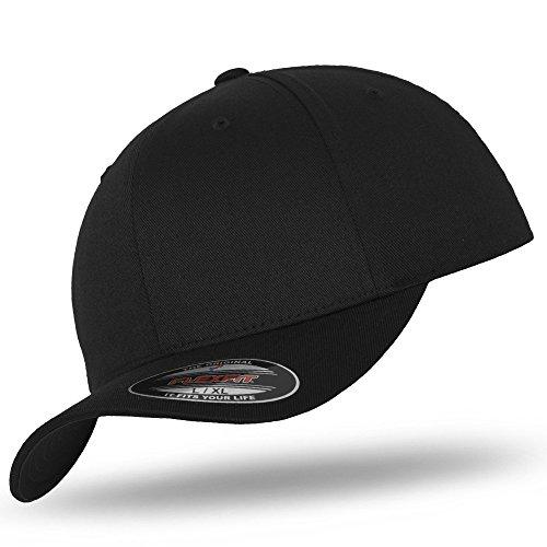 Original FLEXFIT Basecap Baseball Cap Kappe Wooly Combed black / black -S/M
