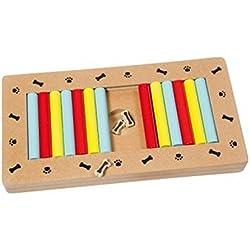 Barras correderas-Juguete interactivo Istruttivo y color para perros, acabado en madera
