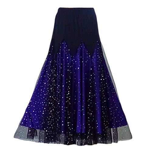 Haobing danza del ventre swing gonna lunga tribale per donna vestito da valzer performance professionale (viola, cn xl)