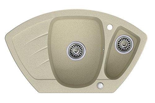 Granitspüle beige, 1,5-Becken, Drehexcenter + Siphon, Spülbecken, Küchenspüle, Schrankbreite ab 60 cm