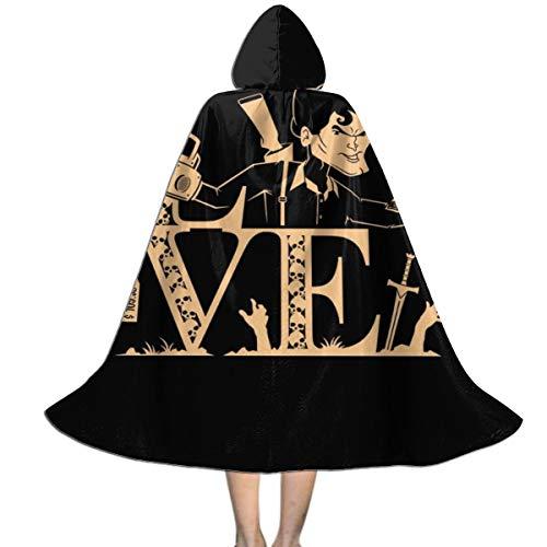 Kostüm Ash Evil Dead - KUKHKU Love Ash Vs Evil Dead Unisex Kinder Kapuzenumhang Umhang Umhang Umhang Cape Halloween Weihnachten Party Dekoration Rolle Cosplay Kostüme
