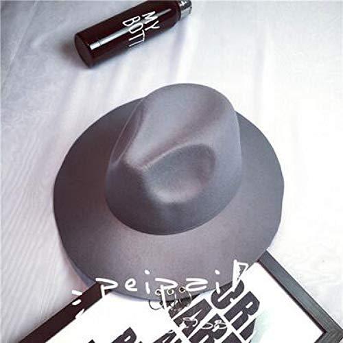 ät Breite Krempe Metall Ringe Schwarz Flache Krempe Filz Jazz Hut Herbst Winter Wolle Bowler Hüte Für Frauen Männer Jüdische Fedora,Gray ()