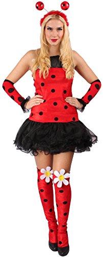 in rot-schwarz für Damen | Größe 36 | 1-teiliges Mariekäfer-Kostüm mit Overknees| Käfer-Faschingskostüm für Frauen | Marienkäferkleid für Karneval (Schwarzer Käfer Kostüm)