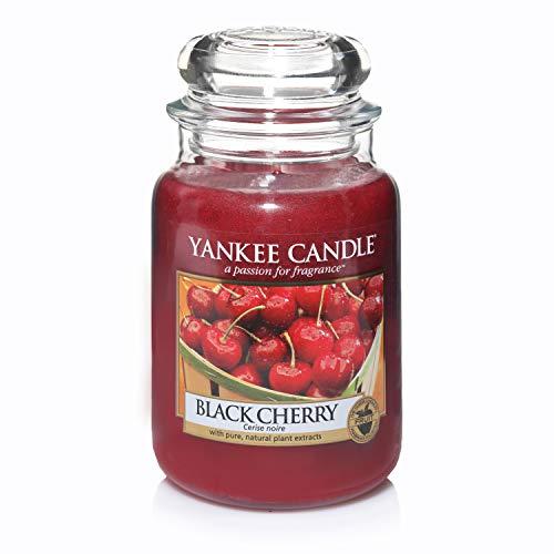 Yankee Candle Duftkerze im großen Jar, Black Cherry, Brenndauer bis zu 150Stunden