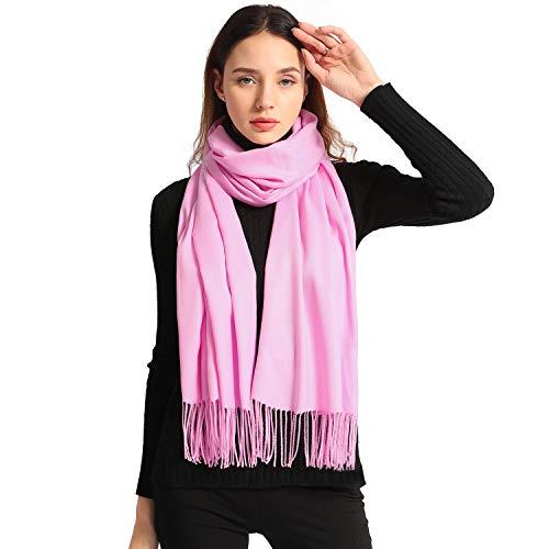Ease Leap Pashmina Schal Pink Kaschmir Schal Damen Schultertuch für Frauen Hochzeit Kaschmirschal Herren Umschlagtuch Winter - 100% Cashmere Jacke