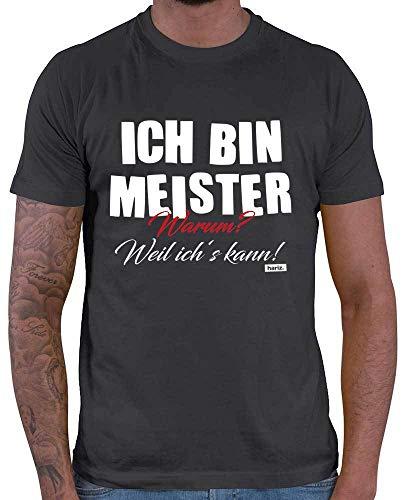 HARIZ  Herren T-Shirt Ich Bin Meister Warum Weil Ichs Kann Prüfung Bestanden Plus Geschenkkarte Dunkel Grau L