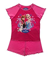 Official Disney Frozen Elsa Anna Short Pyjama Set For Girls Pj's 2 Piece Kids Pink Size 18-24 Months