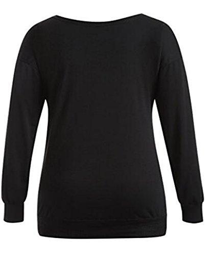 Kerlana Chemisier Femme Manches Longues Haut Col Rond Tops Imprimé Floral En Casual Blouse Basique T-shirt Loose Sans bretelles Black