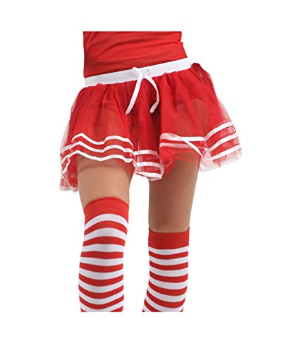 Momo&Ayat Fashions Damen Herren Cheerleader School Musical Pom Pom Kostüm-Mix & Match (L/XL (EUR 44-46), Cheers Tutu - Rot)