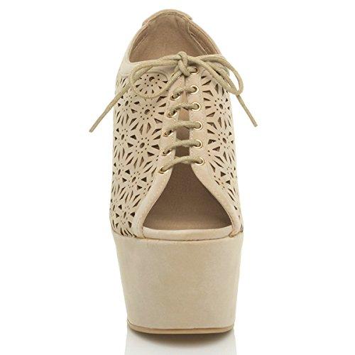Femmes haute talon lacets bout ouvert découper fleur chaussures pointure Beige