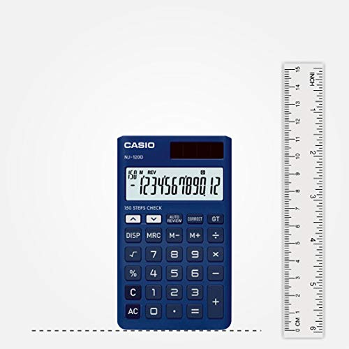 Casio NJ-120D-BU 150 Steps Check & Correct Portable Colourful Calculator (Blue)