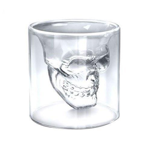 KiaraL Weinglas Totenkopf Glas Becher Tasse für die Hausbar, Party, Halloween, Geschenk