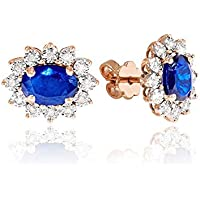 1c4319dab491 LUCKY EYES London 9ct Rose Gold (solid) Diamond and Sapphire Cluster  Earrings - 3.41