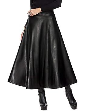 Plunge las mujeres moda piel sintética alta cintura plisada falda Maxi Swing
