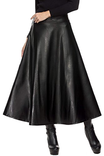 Plunge las mujeres moda piel sintética alta cintura plisada falda Max